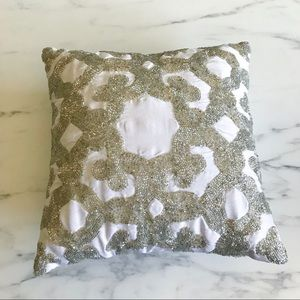 Set of 2 Silver Beaded Accent Pillow